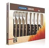 Tramontina 29899/263 Jumbo Steakbesteck, 8 teiliges Set, 4 Steakmesser und 4 Steakgabeln, AISI 420, Edelstahl, Echtholzgriff