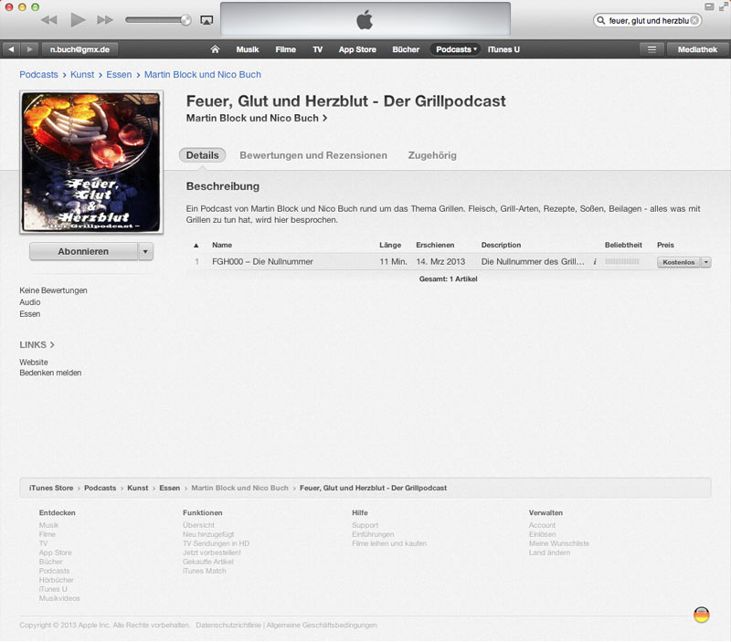 iTunes-Eintrag OK