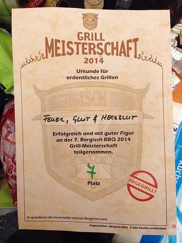 Bergisch BBQ 2014 - Urkunde