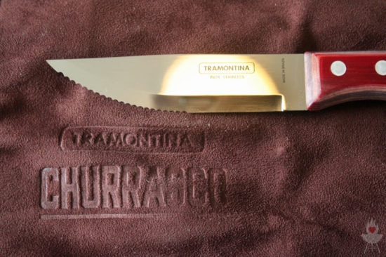 Jumbo-SteakbesteckSet Klinge auf Ledertasche Tramontina Churrasco