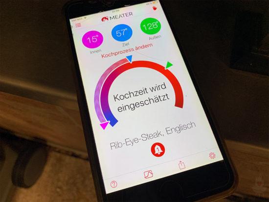 Meater-App auf dem Smartphone